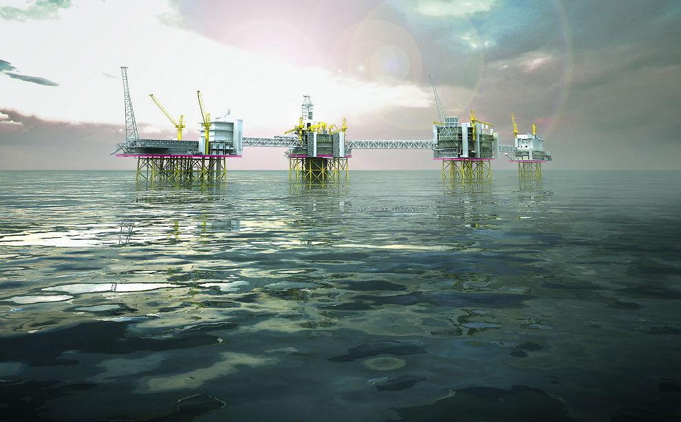 <p>MILLIARDINVESTERING: Slik tenkes det gigantiske Johan Sverdrupfeltet å se ut når det åpner - kanskje neste år. Det antas å gi over 50 000 årsverk i oppstartfasen og øke norsk oljeproduksjon med 37 prosent innen 2020.</p>