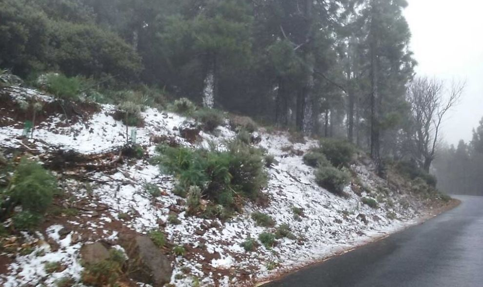 <p>BRRRR: Vinterens første snøfall meldte sin ankomst på Kanariøyene torsdag morgen. Her fra området ved Pico de las Nieves, Gran Canarias høyeste punkt, torsdag ettermiddag.</p>