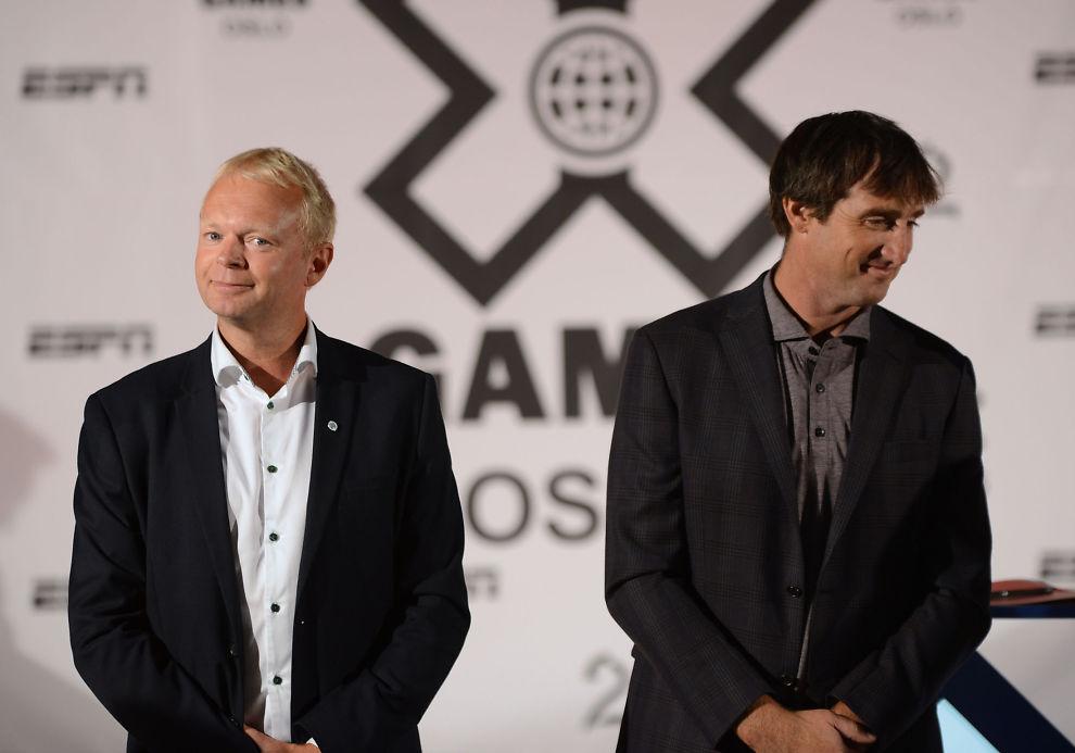 <p>STÅR BAK X GAMES OSLO: Visepresident i ESPN, Tim Reed (t.h.) og sportssjef i TV 2, Vegard Jansen Hagen (høyre). Her er de to under presentasjonen av X Games Oslo i fjor.</p>