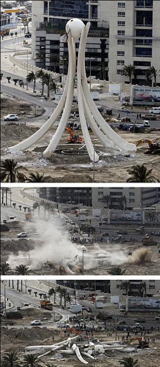 REV DEMONSTRASJONSSYMBOL: Dette byggverket ble et samlingspunkt og symbol på uker med protester for demokrati i Bahrain i 2011. Myndighetene svarte med å rive byggverket..