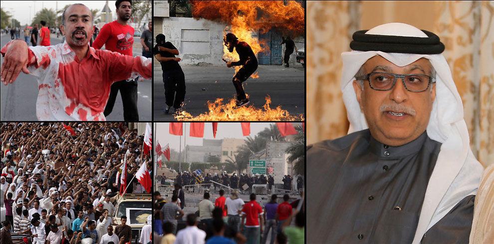 KONTROVERSIELL: Til høyre på bildet er Sjeik Salman, som trolig blir ny FIFA-president fredag kveld. De fire bildene til venstre er av oppføret i hjemlandet hans, der familien hans styrer landet, våren 2011.