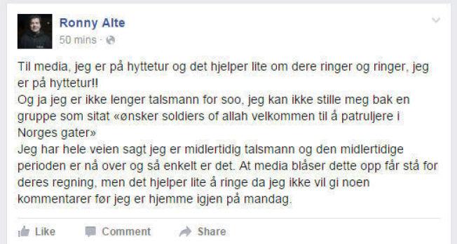 UTILGJENGELIG: Ronny Alte har gjort seg utilgjengelig for pressen etter bråket internt i Odins Soldater.
