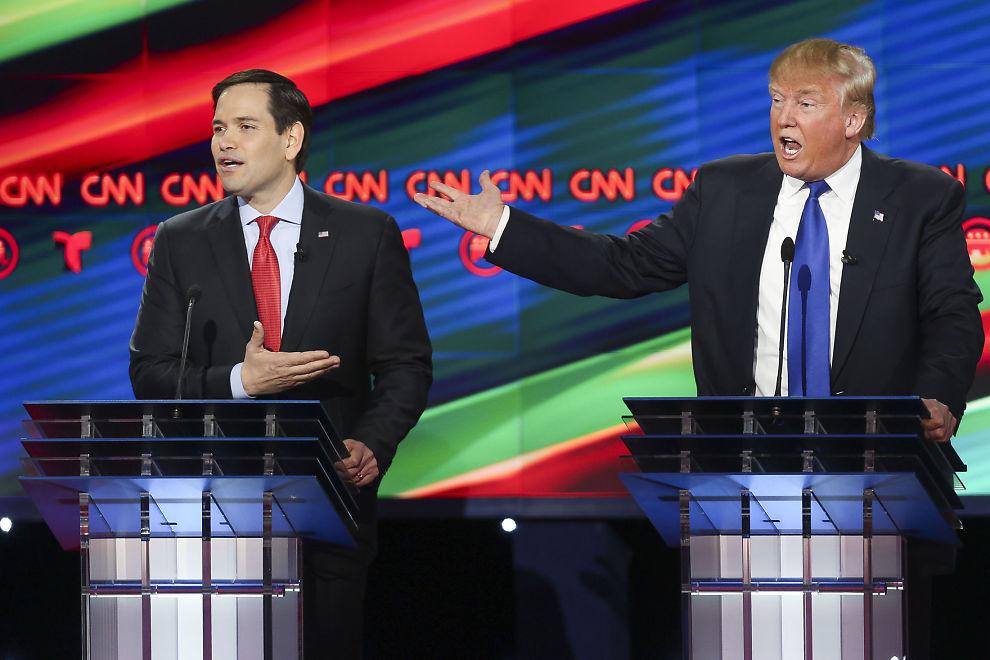 <p>ORDKRIG: De er begge republikanere, men Marco Rubio og Donald Trump er langt fra enige.</p>