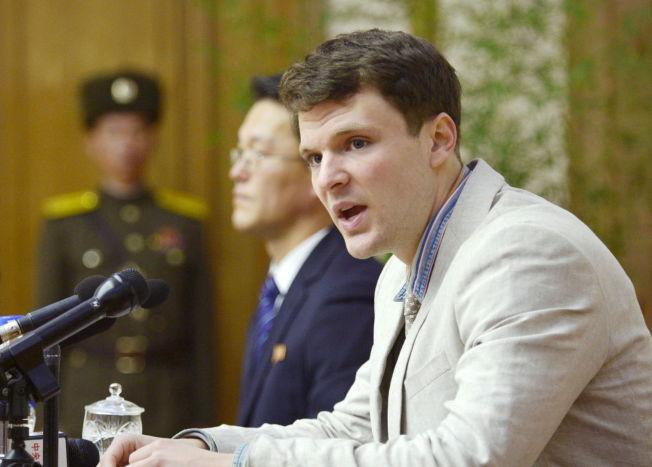 <p>TILSTO: Otto Frederick Warmbier (21) skal ha tilstått å ha stjålet en banner med et politisk budskap på hotellet reisefølget hans bodde på i Pyongyang. Warmbier ble fengslet i januar.</p>