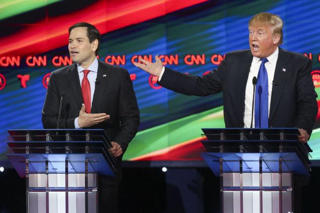 <p>ANGREP: Senator i Florida, Marco Rubio angrep forretningsmann Donald Trump for lempfeldig omgang med arbeidstakerrettigheter under en debatt ved Universitetet i Houston, 25. februar.</p>