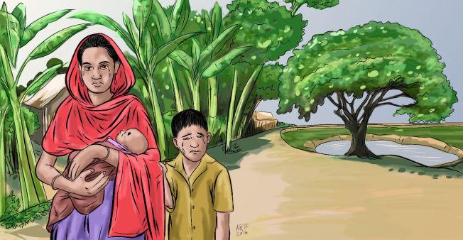 <p>ETTER SKILSMISSEN: Arifur har tegner moren, seg selv og lillesøster Murshida slik han husker det.</p>