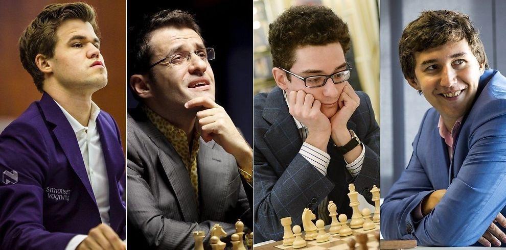 <p>TIPS: Magnus Carlsen mener folk bør sette pengene sine på disse tre hvis de skal tippe hvem som blir hans motstander i VM-kampen i november. Fra v.: Levon Aronian, Fabiano Caruana og Sergej Karjakin.</p>