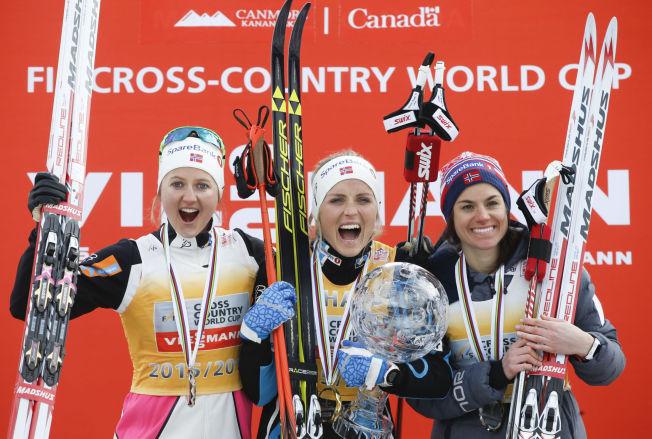<p>IKKE OSTEPOP: Ingvild Flugstad Østberg, Therese Johaug og Heidi Weng vant tredobbelt i Canada. Men ost er ikke pop i tollen.<br/></p>