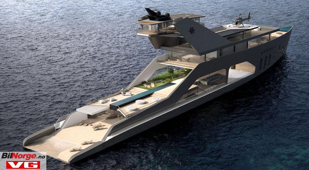 <p>BILÆR OG BÅT: Einar Hareide har jobbet mye med bil, blant annet Saab. Her er hans forslag til en Mega Yacht.</p>