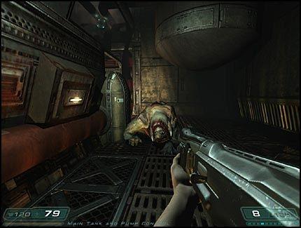 HJEEELP! Stillbilder fra «Doom 3» kan umulig fange hele intensiteten fra spillet i bevegelse. Men vi kan love deg du skvetter når stygginger som dette kommer rasende rundt hjørnet! Foto: VG Nett/id/Activision