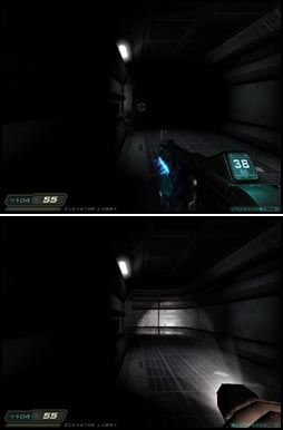 MØRKT: Store deler av «Doom 3» er skyggelagt. Disse bildene er faktisk representative for mange av områdene, her vist både med og uten lommelykt. Foto: VG Nett/id/Activision