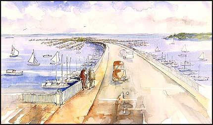 FLYTENDE ØY: En kunstig øy med flytende boliger, 1200 båtplasser, gjestehavn og lagune er hva Gunnar Angeltveit i Fjordby DA drømmer om å bygge i Oslofjorden. Illustrasjon: FJORDBY DA