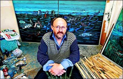 SAMISK KUNST: Den samiske kunstneren Odd Sivertsen (57) stiller ut malerier på Galleri Festiviteten på Eidsvoll fram til 7. november. Foto: Nils Bjåland