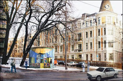 NYE NARVESEN: Slik kan en Narvesen-kiosk anno 2005 se ut, 110 år etter at den første Narvesen-kiosken ble oppført i Kristiania. Et sted for spontant å kjøpe sjokolade eller strategisk mål for å kjøpe New York Times. Illustrasjon: Reiulf Ramstad arkitekter/Knud holscher Design