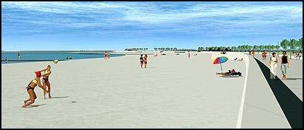 AMAGER STRANDPARK: Badeglade københavnere har alt snikåpnet det nye strandlandskapet men offisiell åpning er 18. august. Da blir det to dager med fest for skaperverket som vil se omtrent slik ut. Foto: Modeller: Hasløv & Kjærsgaard