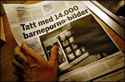 GLEMTE SLADDEN: Fredriksstad Blad trykket et barnepornobilde uten og sladde ansiktet til barnet Foto: VG, Thomas Andreassen