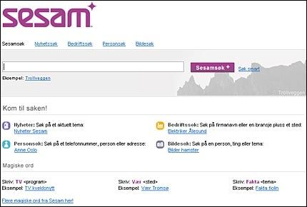 NYTT PÅ NETT: Sesam er en søkemotor laget med hovedfokus på norske sider på Internett. Foto: Skjermdump