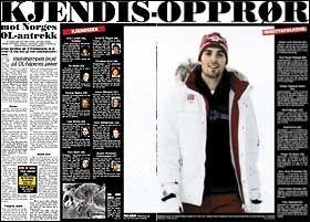 KJENDISOPRØR: I dagens VG forteller en rekke kjente nordmenn om sitt syn på pels på OL-antrekket. Foto: Faksimile: VG
