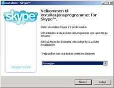 INSTALLERE: Første steg er å laste ned Skype, og installere det. Slik ser installasjonen ut. Foto: VG Nett