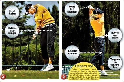 LÆR GOLF: Suzann Pettersen gir deg triksene som gjør deg til en bedre golfspiller. Foto: Helge Mikalsen, VG.