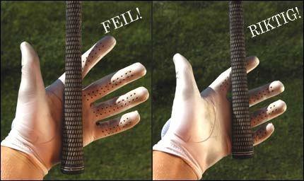 GALT: Køllen må IKKE legges inne i håndflaten (bilde til venstre).