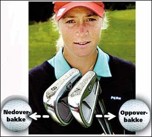 KØLLEVALG: Det er viktig å velge riktig kølle i oppover- og nedoverbakke. Foto: Helge Mikalsen, VG.