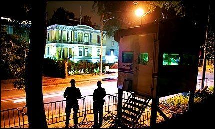 TERRORMÅL: Israels ambassade i Oslo skal ha vært et mål for de terrorsiktede mennene, hevder politiet. I samtaler som ble avlyttet av PST, skal de ha drøftet attentater mot ambassaden og ambassadøren. Foto: Fredrik Solstad
