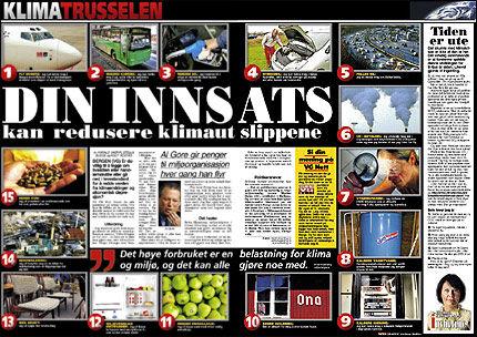 KLIMATRUSSELEN: Les i dagens VG (27/11-2006) om hvordan du kan bidra til et bedre miljø. Foto: Faksimile: VG