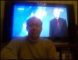 FØLER SEG LURT: Dag Frode Rydland kjøpte seg ny flatskjerm-TV. Da han bestilte digitalt TV fra Get trodde han at han skulle få digitale sendinger til TV-en. - Jeg føler meg lurt, sier Rydland til VG Nett. Foto: MMS-bilde
