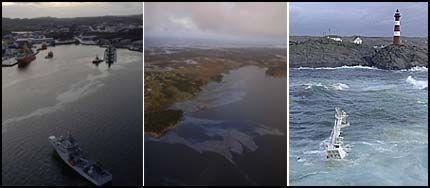 ALVORLIG: Olje har spredd seg rundt i fjorden ved Fedje, der «Server» havarerte fredag kveld. Forskipet er fraktet inn til Ågotnes ved Bergen, akterenden har sunket. Foto: Tor Erik H. Mathiesen