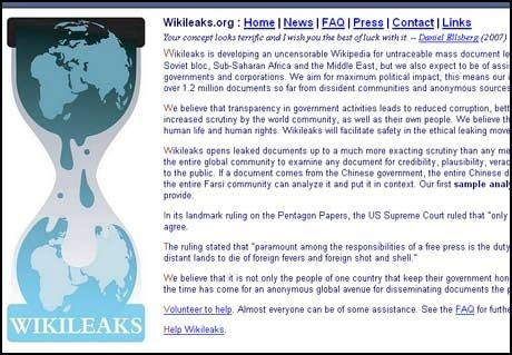 FRIHAVN FOR VARSLERE: Wikileaks tilbyr anonymitet og, etter sigende, sporingssikker publisering. Det skal heller ikke være mulig å blokkere nettsiden. Foto: WIKILEAKS.ORG