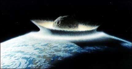 ASTEROIDE: En grafikk fra NASA viser en gigantisk asteroide som treffer antarktis. Foto: NASA-grafikk