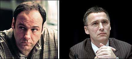 - MYE FELLES: Jens Stoltenberg mener han og Tony Sopranos har myt til felles. - Han har mange baller i lufta og må takle alt fra små til store oppgaver, sier Stoltenberg. Foto: AP/SCANPIX