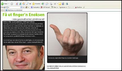 FAKSIMILIE: Slik ser siden ut der du kan gi Enoksen fingeren. Hvilke finger du vil sende er valgfritt. Foto: Faksimilie www.nu.no