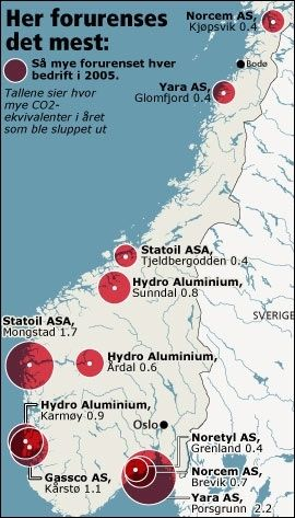 HER SLIPPES DET UT KLIMAGASSENE: Disse elleve bedriftene slipper ut med klimagasser blant industriene på fastlandet i Norge. Foto: Kystatlas