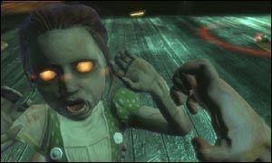 ETISK DILEMMA: I «Bioshock» må du samle det genmodifiserende stoffet «ADAM» fra de mange «Little Sisters» som tusler rundt i Rapture med sine egne vakter. Du får valget mellom å redde eller høste disse jentene. Dette etiske dilemmaet går som en rød tråd gjennom hele spillet, og valget ditt gir deg en av to mulige avslutninger. Foto: 2K Games