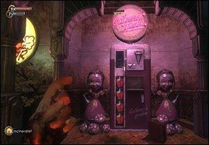 NYE EGENSKAPER: Nye egenskaper kan kjøpes fra genbanker som er plassert rundt omkring i spillet «Bioshock». Foto: 2K Games