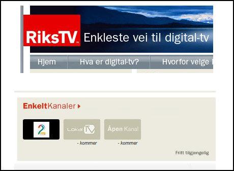 """ENKELTKANALER? """"NTV plikter å gi forbrukerne tilbud om å abonnere på enkeltkanaler"""" står det i RiksTVs konsesjon. Enkeltkanalene du får abonnere på er i dag gratis-kanalen TV2. Foto: Skjermbilde"""