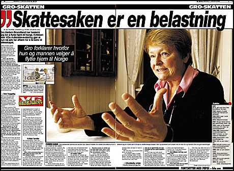 FORTELLER I VG: Gro Harlem Brundland forteller om sin beslutning i VG i dag. Foto: Faksimile: VG i dag