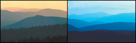 Skog- og fjellandskap fotografert i varmt kveldslys og i kaldt lys. Foto: iStockphoto