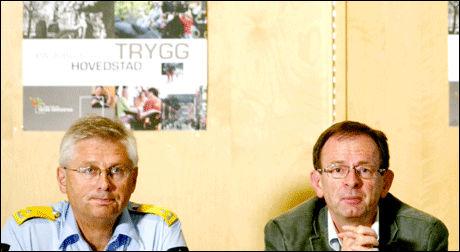 BEKYMRET: Visepolitimester Sveinung Sponheim (t.v.) og byrådsleder Erlig Lae (H) ser at mer ressurser må settes inn for å bekjempe at flere blir gjengangerkriminelle. Foto: Scanpix