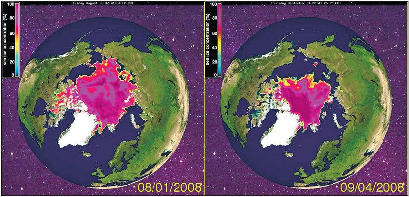 REKORD I NORD: Aldri har sjøisen i Polhavet forsvunnet så raskt som i august i år. I snitt forsvant isområder tilsvarende mer enn Finnmark og Troms daglig. Bildet til venstre viser isutbredelsen 1. august i år, bildet til høyre isutbredelsen torsdag 4. september. Illustrasjon: UNIVERSITY OF ILLINOIS, THE CRYOSPHERE TODAY