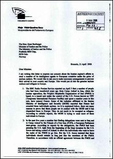 SKREV TIL STORBERGET: I brevet advarer visepresidenten Alejo Vidal-Quadras om at Iran bruker asylsøkere som hemmelige agenter i Europa. Foto: Faksimile