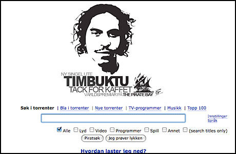 REKLAME: Gratisreklame for Timbuktu på verdens største fildelingsnettsted. Foto: Skjermbilde