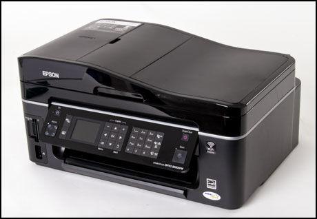 Epson Stylus Office BX600FW tar seg av fire forskjellige oppgaver og har en ganske stilig design. Foto: Toralv Østvang