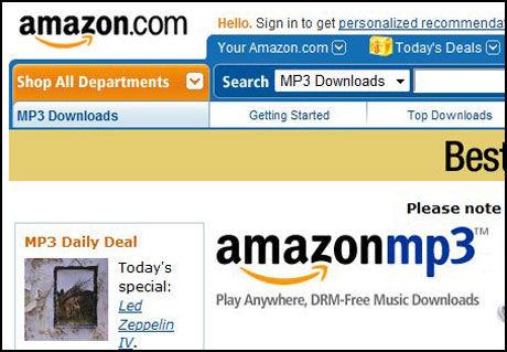TIL MOBILEN: Google-telefonen lar deg laste ned musikk fra Amazon.com direkte til mobilen. Foto: Skjermbilde