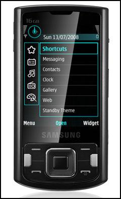 I8510 har 16 GB minne innebygget, og har samme menysystem som Nokias N-serie-telefoner. Foto: Samsung