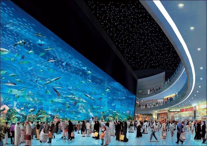 HAI, HAI: Slik skulle en av hovedattraksjonene på Dubais nye kjøpesenter se ut. I stedet trues fiskeidyllen i Burj Dubai Mall av blodtørstige haier. Foto: BURJ DUBAI MALL