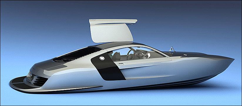 VANN-R8: Det er ingen bindinger mellom Audi R8 og båten, R 8,8 Biocat. Men designlikheten er slående. Inspirasjonskilden er det nok ingen tvil om. Foto: Illustrasjon: Viztech