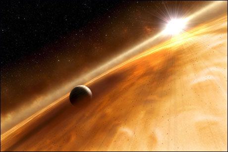 Dette tegnede bildet fra NASA viser moderstjernen og en av planetene som nylig ble oppdaget. Foto: NASA